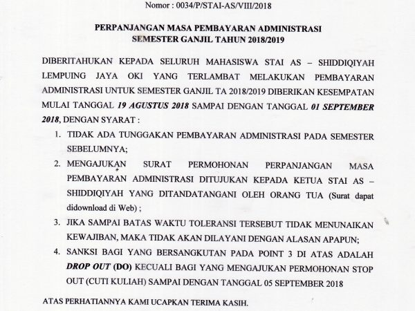 Perpanjangan Pembayaran SPP Semester Ganjil 2018/2019