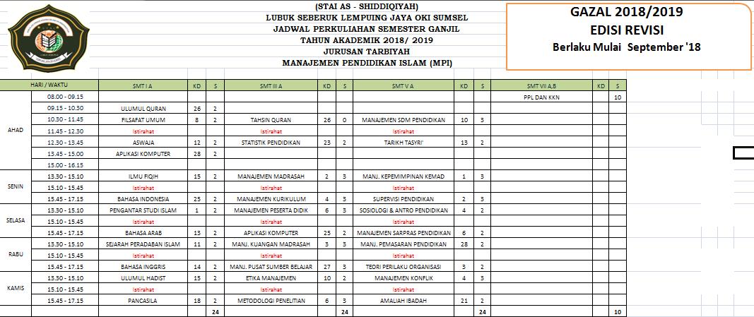 New Jadwal Perkuliahan Semester Ganjil 18/19